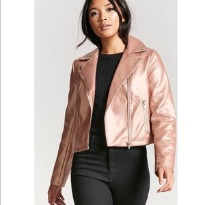 Forever 21 pink metallic faux leather jacket